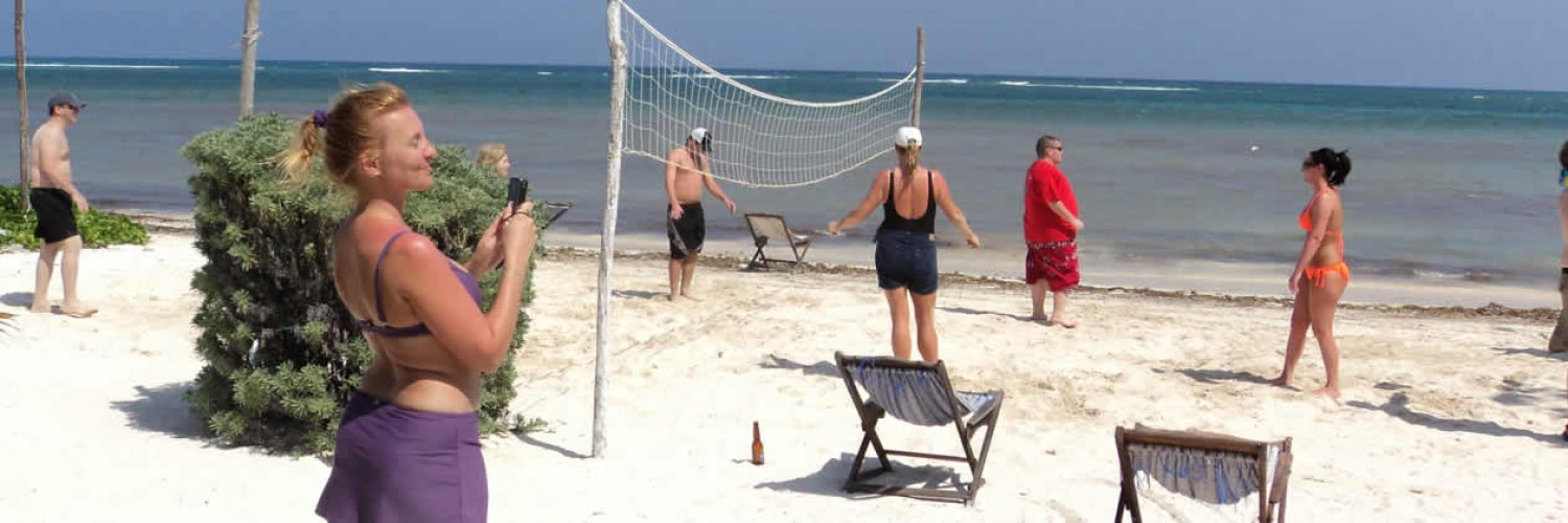 Playing beach volleyball at Costa Maya beach resort Maya Luna Mahahual