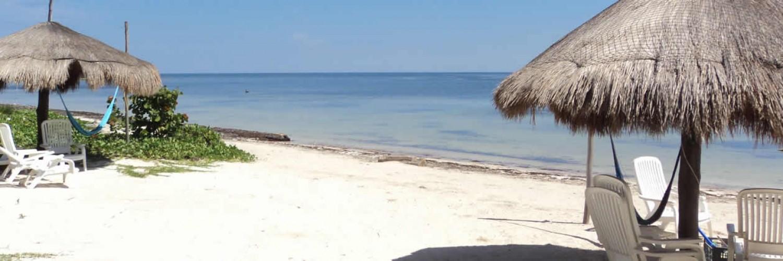 Mahahual Hotel Restaurant Maya Luna. beach palapas