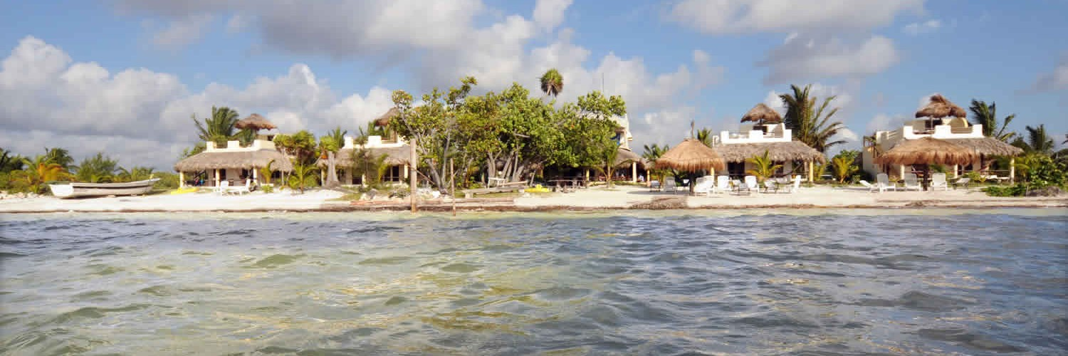Mahahual, Hotel Restaurant Maya Luna. View from the ocean