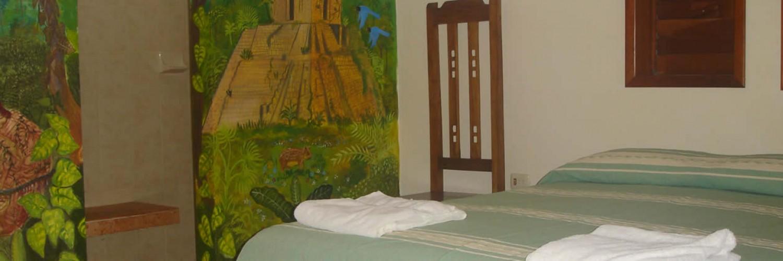Mural in bungalow Chacchoben Hotel Maya Luna Mahahual