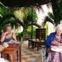 Mahahual Hotel Maya Luna. Wheel chair accesible terrace behind bungalow