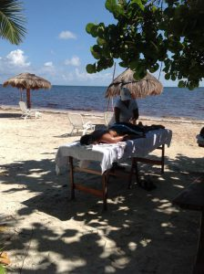 Eco Hotel Restaurant Maya Luna. Relaxing massage at the beach