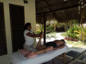 Eco Hotel Restaurant Maya Luna. Relaxing massage at your porch