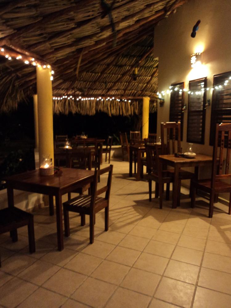 Eco Hotel Restaurant Maya Luna Mahahual. Patio with Christmas lights