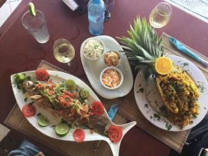 Eco Hotel Restaurant Maya Luna Mahahual. Fried fish and Stuffed Pineapple, our signature dish