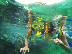 Snorkeling in front of Hotel Restaurant Maya Luna