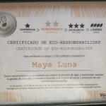 Eco Hotel Restaurant Maya Luna Mahahual Certificate of Eco-responsability
