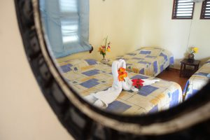 Eco Hotel Restaurant Maya Luna Mahahual. Beach front bungalow for family. Sleeps 4