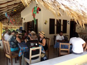 Eco Hotel Restaurant Maya Luna Mahahual. Lunch at our terrace.