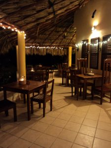 Eco Hotel Restaurant Maya Luna Mahahual. Patio with Christmas lights