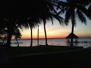Eco Hotel Restaurant Maya Luna Mahahual. Laguna Bacalar. Sunset