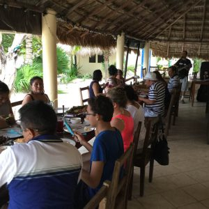 Eco Hotel Restaurant Maya Luna Mahahual. Out-door restaurant with live music