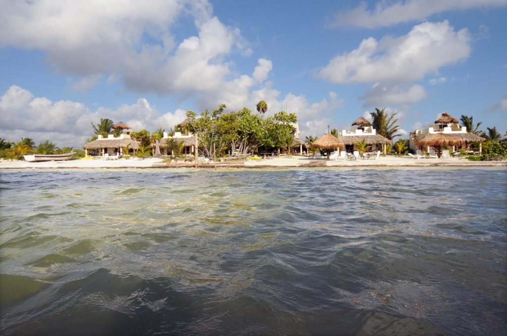 Eco Hotel Restaurant Maya Luna MAhahual Costa Maya Mexico from the ocean