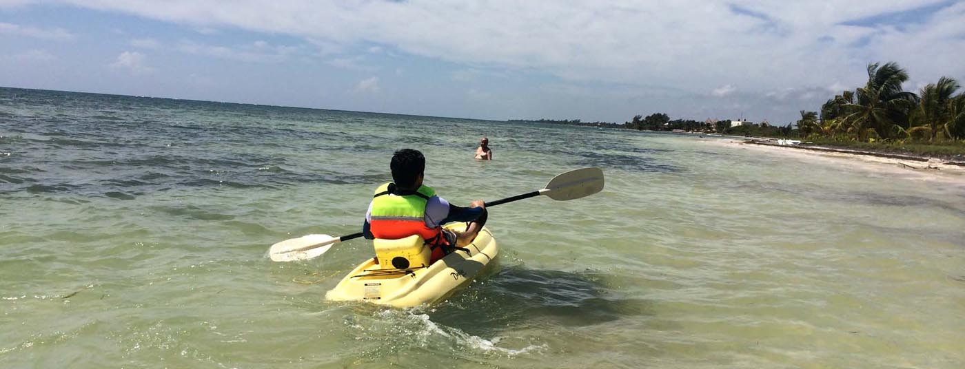 <strong>Kayaking in front of our beach</strong>